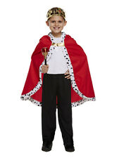 Childrens King Cape Boys Girl Royal Fancy Dress Accessory Kids Medieval Outfit