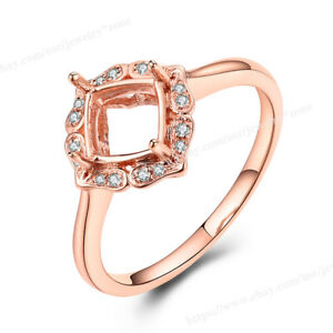 Engagement Semi Mount Ring SI Diamond Solid 18k Rose Gold Princess/Cushion 6mm
