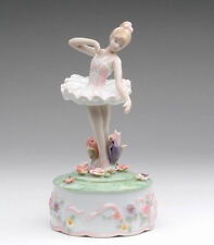 ♫ New MUSIC BOX Porcelain BALLERINA WATER LILY Vintage Style MUSICAL FIGURINE