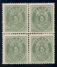 ICELAND #16 (10) 5aur green, Block of 4, og, LH, VF, Facit $504.00