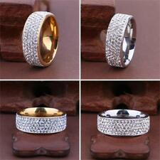 Women/Men Inlaid Unisex Band Ring Stainless Steel Full Filled Zircon Weddig