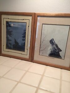 2 Marguerite Fields Signed Matted Framed Prints Wolf Crying Indian Native Moon