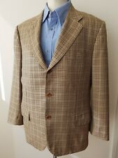 KITON Beige Plaid Check 100% CASHMERE Mens Blazer Sport Coat Jacket - 42 R