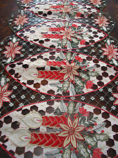 "Christmas Embroidered Laced TABLE Runner Cut Work Poinsettia Candle 34""*16 5/8"""