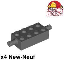 Lego - 4x Brique Brick Modified 2x4 pin gris foncé/dark bluish gray 6249 NEUF