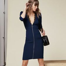 Reformation 2 XS GAMAY Zipper Dress Bodycon Blue Black Lace Viscose