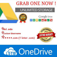 5TB OneDrive ☑️ Unlimited GDrive ☑️ not.edu ☑️.com ☑️ custom username