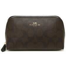 NWT COACH Cosmetic Case 17 Pouch Travel MakeUp Canvas Brown Black Gold F53385
