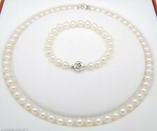 Long 14 & 6.5 inches Genuine Natural 5-6MM White Pearl Necklaces Bracelet Set