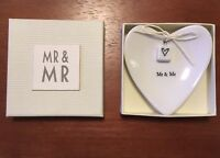MR and MR Heart-Shaped Porcelain CRATE & BARREL Ring / Trinket Dish Gay Marriage
