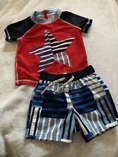 Toddler Boys Baby Gap Swim Suit Trunks & SS Rash Guard Set 12-18-24M Star Red