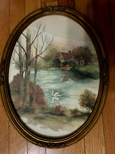 Home Interior Oval frame Country Swan Lake Cottage picture 3280
