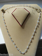 Sri Lankan Sterling Silver Blue Moonstone Single Link Chain Necklace (NEW) N2500