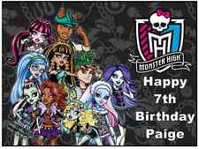 """Monster High A4 Personalised Cake Topper 7.5"""" Edible Wafer Paper Birthday Party"""
