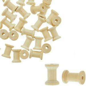 Unfinished Wooden Spools for Crafts, Small (1 x 0.75 in, 60 Pack)