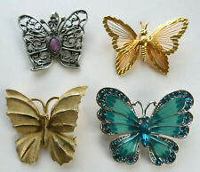 Vintage Colorful Butterfly Brooch Pin Variety Lot of Four 4 Mixed Material Nice