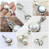 925 SOLID STERLING SILVER JEWELRY PEARL PENDANTS IN MANY DESIGN CHRISTMAS GIFT