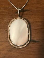 Sterling 20 Inch Necklace Signed Hb Cream Shell Sterling Silver Navjo Pendant on