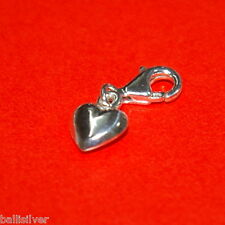 Sterling Silver 925 9mm HEART Clip On Charm Pendant with 11mm Lobster Claw Clasp