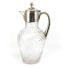 John Newton Mappin Sterling Silver & Art Glass Crystal Lidded Pitcher, Victorian