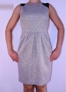 Whistles Gold Cream Tulip Dress Silk Trim Spring Summer Wedding Size 14 16 AD