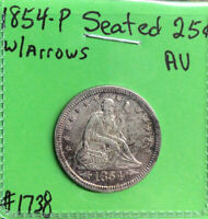 1854-P Seated Liberty Quarter W/Arrows AU About Uncirculated