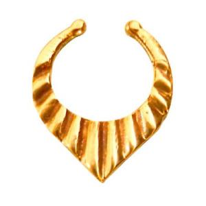 Unique Nose Ring Fake Septum Tribal Non Pierced Gold Brass