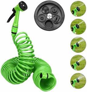 15m Green Long Retractable Expandable Magic Garden Hose Pipe & Spray Gun UK