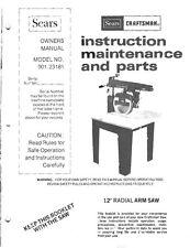"1983 Craftsman 901.23181  12"" Radial Arm Saw Instructions"