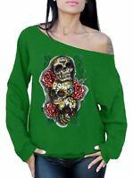Sugar Skulls Roses Off The Shoulder Oversized Slouchy Sweater Sweatshirt