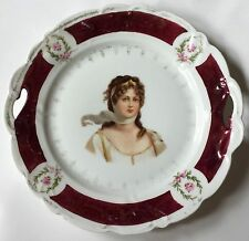"Queen Louise of Prussia portrait cake plate 10 1/4"" ES Germany Prov Saxe"