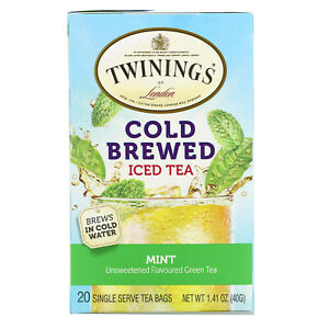 Cold Brewed Iced Tea, Unsweetened Flavored Green Tea, Mint, 20 Tea Bags, 1.41 oz