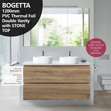 BOGETTA | 1200mm White Oak PVC THERMAL FOIL Wood Grain Double Vanity w Stone Top