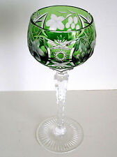 1 NACHTMANN TRAUBE EMERALD GREEN CASED CUT TO CLEAR CRYSTAL WINE GOBLET