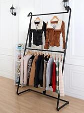 Quality Iron Clothing Rack Double Rail Display Free Standing Home Shop DRS019BLK