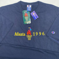 Vintage Atlanta 1996 Olympics Champion T-Shirt 90s Embroidered Blue Men L NWT