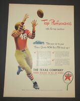 Original 1948 Vintage Print Ad TEXACO Top Performance Top Condition Football