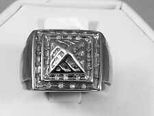 Solid 10K  White Gold Diamond Men's Ring 0.5 CT 9.5 gr Free Shipping