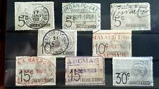 8 x 1901 - 1923 French Fiscal Revenue Stamps  - Used - France