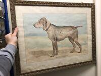 Dessin Aquarelle XIXeme Braque Charles X Portrait de Chien Napoléon III Ancien