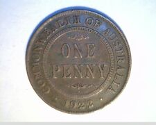 1922 Australia, Lg One Penny, Circulated Medium Grade Bronze Coin (Aust-105)