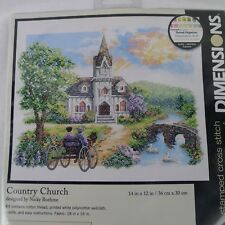 Dimensions Country Church Stamped Cross Stitch Kit 3227 Sealed 14 X 12 Inches
