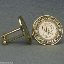 Indiana Railroad Transit Token Cufflinks, Vintage 1940s Brass Division of Wesson