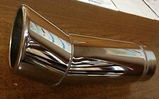 """Lot Of 2 Chrome Exhaust Tips-Rolled Turn-Up Tip-3 1/2""""x11""""-s/o 3"""" - Small Defect"""