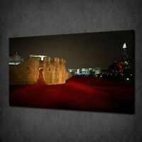 TOWER OF LONDON RED POPPIES DISPLAY CANVAS WALL ART PRINT PICTURE READY TO HANG