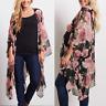 Chiffon Women 3XL Plus size Floral Kimono CoverUp Boho Beach Blouse Black loose