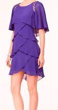 SL Fashions Beaded Tiered Capelet Dress Jewel Purple sz 4 NEW
