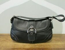 COACH Black Saddle Leather SOHO Buckle Flap HOBO Shoulder Bag Purse F10910