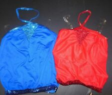 NEW Sequin Accent halter jazz top clear adjustable strap Girls Sizes 3 colors
