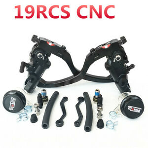 Pair 7/8'' Motorcycle 19Rcs Brake Master Cylinder Cable Clutch Radial Brake Pump